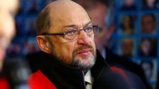 SPD leader Schulz is seen during demonstration of Siemens employees