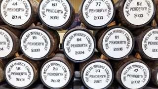 Whisky casks at Penderyn