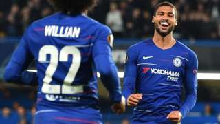 Ruben Loftus-Cheek celebrates with team-mate Willian after scoring for Chelsea against Bate Borisov in the Europa League
