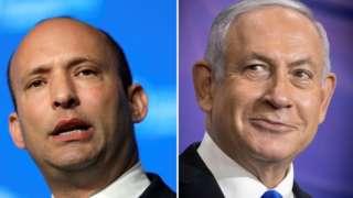 Israeli Prime Minister Benjamin Netanyahu (L) at a news conference and Naftali Bennett