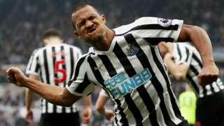 Salomon Rondon celebrates Newcastle goal