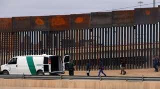 Border wall along the US-Mexico border