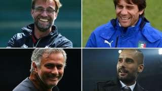 Pep Guardiola, Antonio Conte, Jurgen Klopp, and Jose Mourinho