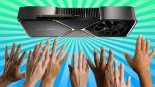 Outstretched hands reach to the sky to try to grasp an Nvidia RTX 3080 in this composite illustration
