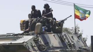 Units of Ethiopian army patrol the streets of Mekelle city of the Tigray region,