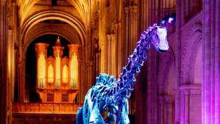 Illuminated Dippy the dinosaur