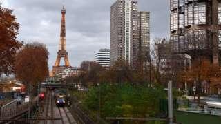 The Eiffel Tower alongside train lines in Paris, France, 21 November 2020