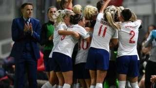 England Women celebrate in Wales