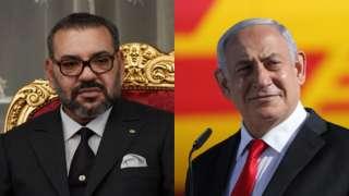 Une image composite du roi Mohammed VI du Maroc et de Benjamin Netanyahu d'Israël