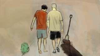 Ilustração mostra dois homens se aproximando do buraco em que foi encontrada a ossada de idosa