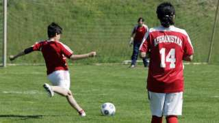 Archive photo, from 2009, of members of Afghanistan's women's national football team take part in a training session in Germany