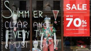 Shop with sale posters in window