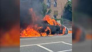 Car on fire on Bellegrove Road