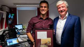 Steve Harris and Lord Tony Hall with plaque for John Martin studio