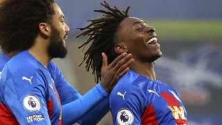 Eberechi Eze celebrates scoring for Crystal Palace against Wolves