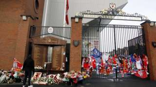 The Hillsborough memorial and Bill Shankly gates