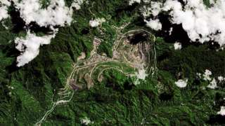 Satellite imagery of the Panguna Mine located in the autonomous region of Bougainville on July 20, 2015 in Papua New Guinea