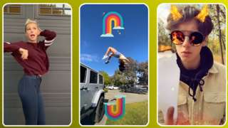 A three-part composite of Snapchat's marketing for the feature shows a girl dancing, another doing a backflip, and a boy lighting a piece of paper on fire with the flames reflected in his sunglasses