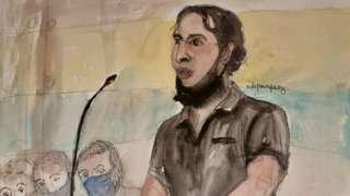 Sketch by Elisabeth de Pourquery/France Televisions shows defendant Salah Abdeslam during trial at Paris courthouse