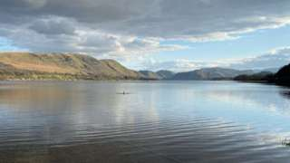 A swimmer in Ullswater