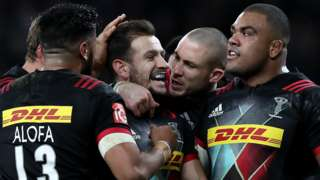 Danny Care celebrates one of his tries with Harlequins team-mates