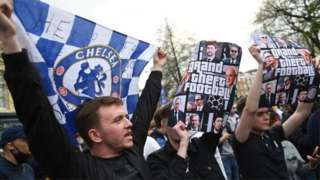 Chelsea fans protested their involvement outside Stamford Bridge
