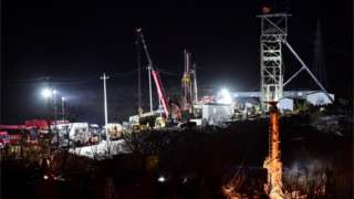 Cranes at mining site