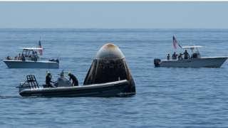 Nasa SpaceX crew dragon splashdown video: