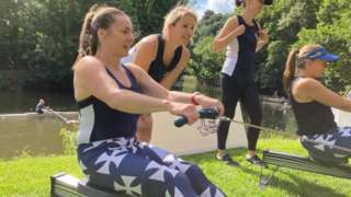 Emma Hall rowing