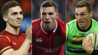 George North in Wales kit (l), Lions kit (c) and playing for Northampton