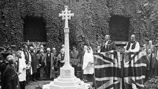 The unveiling of the Memorial Cross at St Botolph-without-Bishopsgate