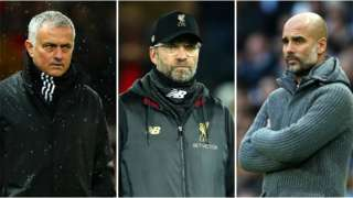 Jose Mourinho, Jurgen Klopp and Pep Guardiola