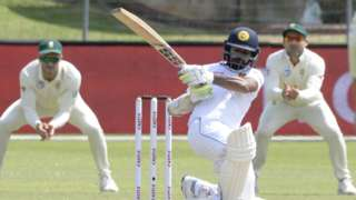 Sri Lanka's Niroshan Dickwella in action against South Africa