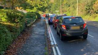 Cars queuing at Clydach Vale