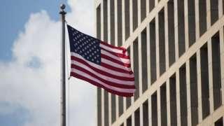 Flag outside the US embassy in Havana, Cuba