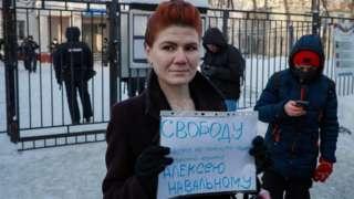 Councillor Antonina Stetsenko in pro-Navalny protest, 18 Jan 21