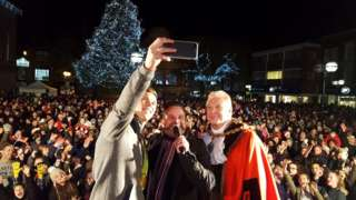 Joe Clarke takes a selfie with the crowds