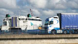 Lorry pulls towards Irish Ferries ferry at Holyhead, Anglesey, Wales, UK