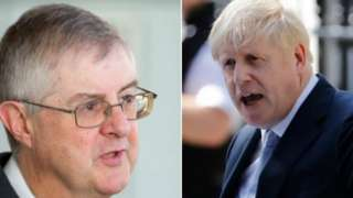 Mark Drakeford and Boris Johnson