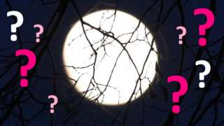 A full moon surrounded by question marks