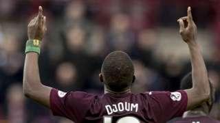 Arnaud Djoum grabbed the crucial opener for Hearts against Hamilton