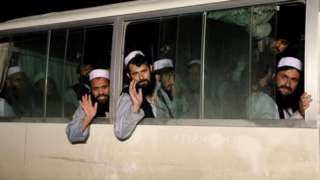 Taliban prisoners released from the Bagram prison in line with the peace deal last month