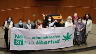 Senators celebrate the passing of a bill to legalize adult-use cannabis, in Mexico City, Mexico