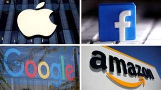 四大科技巨頭商標:蘋果、Facebook、Google與阿馬遜