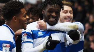 Aramide Oteh celebrates his first goal for QPR