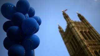 Balloons outside the Houses of Parliament