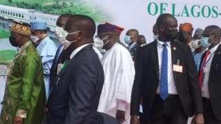 Buhari, Rotimi Amaechi ati awọn eeyan mii lasiko ifilọlẹ naa
