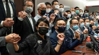 Pro-democracy lawmakers hold press conference in Hong Kong