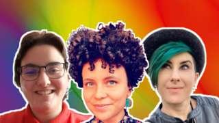 Portraits of Daniel, Jai, and Lyric appear on an abstract rainbow background