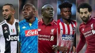 Medhi Benatia, Kalidou Koulibaly, Sadio Mane, Thomas Partey and Mohamed Salah